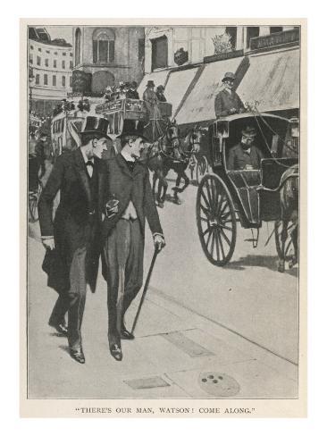 The Hound of the Baskervilles, Holmes and Watson Catch a Glimpse Lámina giclée