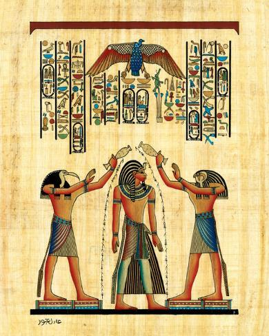 The King with Horus Stretched Canvas Print