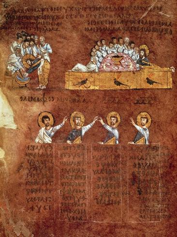 The Last Supper and the Washing of Feet, Miniature from the Rossano Gospels Lámina giclée