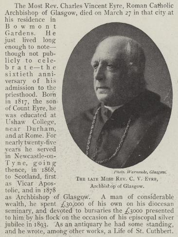 The Late Most Reverend C V Eyre, Archbishop of Glasgow Lámina giclée