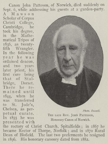The Late Reverend John Patteson, Honorary Canon of Norwich Lámina giclée