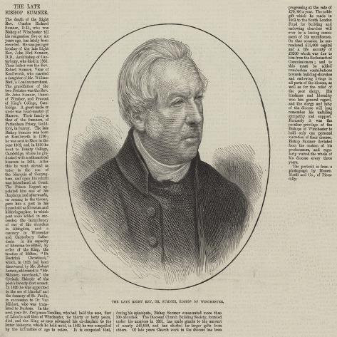 The Late Right Reverend Dr Sumner, Bishop of Winchester Lámina giclée