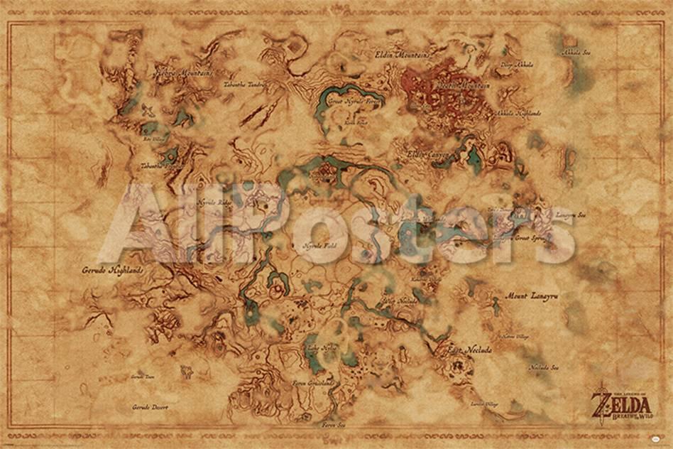 The Legend Of Zelda Breath Of The Wild Hyrule World Map