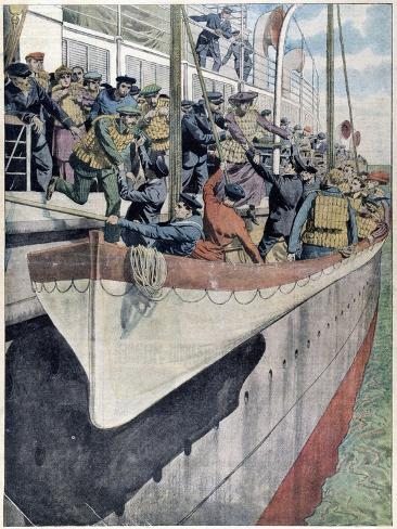 The Lesson of Ss Titanic: Lifeboat Drill on a Passenger Liner, 1912 Giclee Print