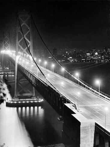 The Lights of Downtown San Francisco Twinkle Across the Bay Photographic Print