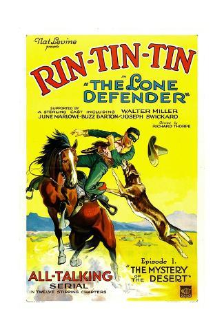 THE LONE DEFENDER, right: Rin-Tin-Tin in 'Chapter 1: The Mystery of the Desert', 1930 Impressão artística