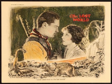 THE LOST WORLD, l-r: Lloyd Hughes, Bessie Love on lobbycard, 1925. Impressão artística