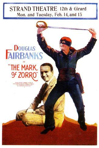 The Mark of Zorro Movie Douglas Fairbanks Noah Beery Poster Print Poster