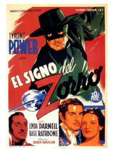 The Mark of Zorro, Spanish Movie Poster, 1940 Art Print