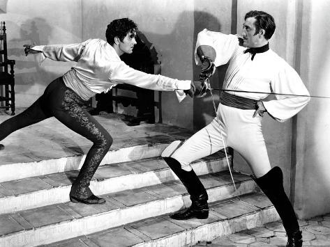 The Mark Of Zorro, Tyrone Power, Basil Rathbone, 1940 Photo