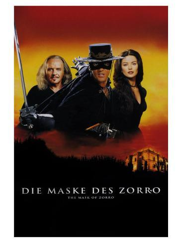 The Mask of Zorro, German Movie Poster, 1998 Stretched Canvas Print