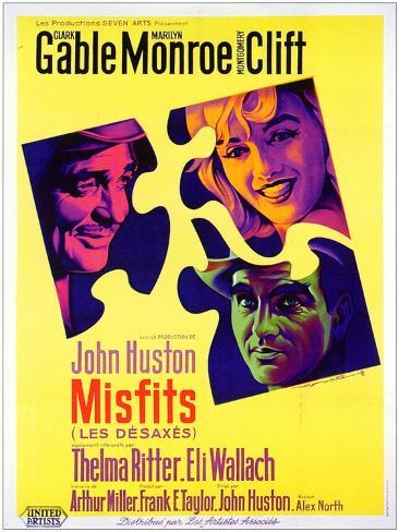 The Misfits, French Movie Poster, 1961 Art Print