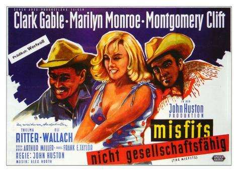 The Misfits, German Movie Poster, 1961 Art Print