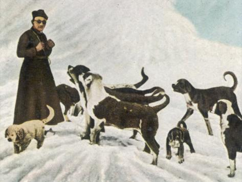 The Monks of Saint Bernard Together with Their Dogs Visit Tibet Photographic Print