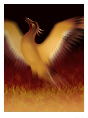 The Mythical Phoenix Rising from Ashes Art Print