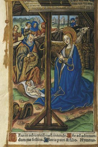 The Nativity, Miniature from Latin Book of Hours, Manuscript C 1268 Folio 24 Verso, 16th Century Lámina giclée