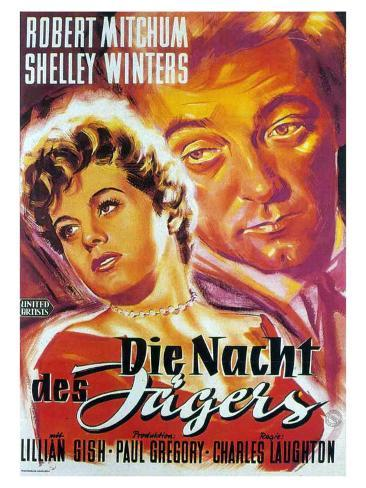 The Night of the Hunter, German Movie Poster, 1955 Stampa artistica