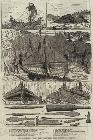 The Norwegian Viking Ship Discovered Near Sandefjord, Norway Giclee Print