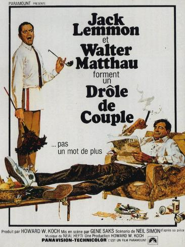The Odd Couple, French Movie Poster, 1968 Art Print