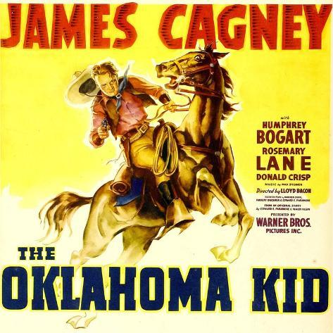 THE OKLAHOMA KID, James Cagney on window card, 1939. Art Print