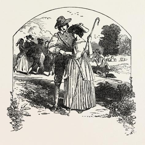 The Passionate Shepherd to His Love Book of English Songs, 1851 Stampa giclée