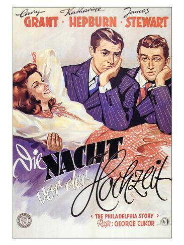 The Philadelphia Story, German Movie Poster, 1940 Art Print