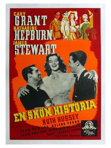 The Philadelphia Story, Swedish Movie Poster, 1940 Art Print