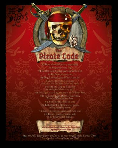 The Pirate Code List (mature wording) Art Poster Print Mini Poster