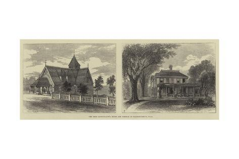 The Poet Longfellow's House and Church in Massachusetts, Usa Giclee Print