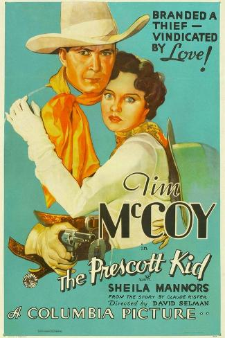 THE PRESCOTT KID, from left: Tim McCoy, Sheila Mannors (aka Sheila Bromley), 1934. Impressão artística