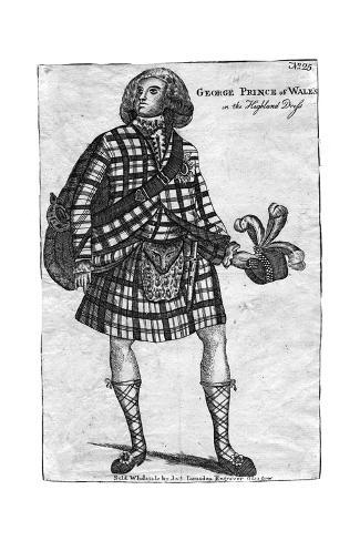 The Prince of Wales, the Future King George IV (1762-183), in the Highland Dress Giclee Print