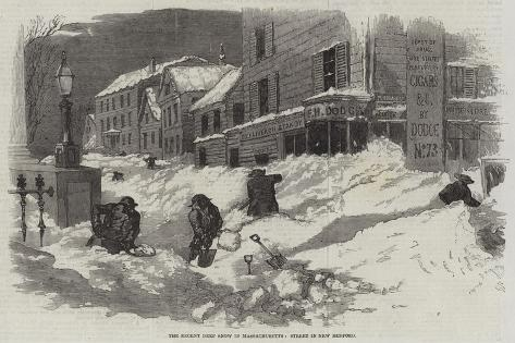 The Recent Deep Snow in Massachusetts, Street in New Bedford Giclee Print