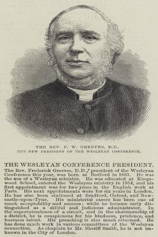 The Reverend F W Greeves, Dd, the New President of the Wesleyan Conference Lámina giclée