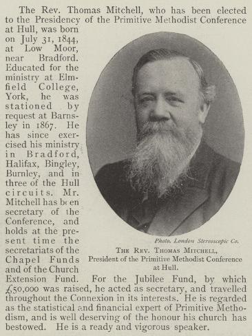The Reverend Thomas Mitchell, President of the Primitive Methodist Conference at Hull Lámina giclée