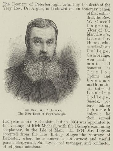 The Reverend W C Ingram, the New Dean of Peterborough Lámina giclée