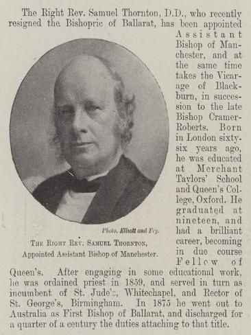 The Right Reverend Samuel Thornton, Appointed Assistant Bishop of Manchester Lámina giclée