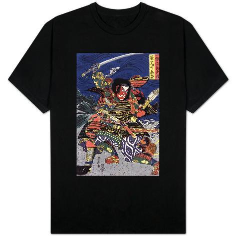 The Samurai Warriors Ichijo Jiro Tadanori and Notonokami Noritsune, Japanese Wood-Cut Print T-Shirt