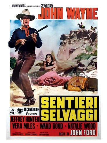 The Searchers, Italian Movie Poster, 1956 Stampa artistica