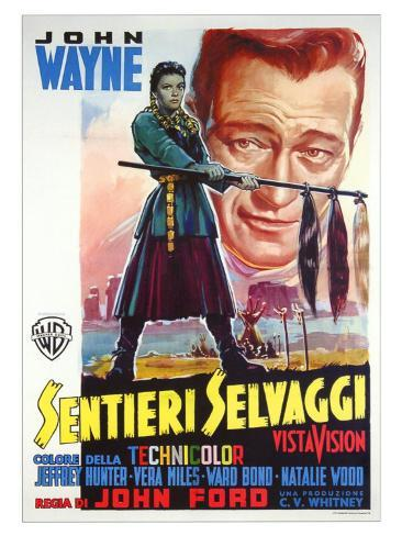 The Searchers, Italian Movie Poster, 1956 Art Print