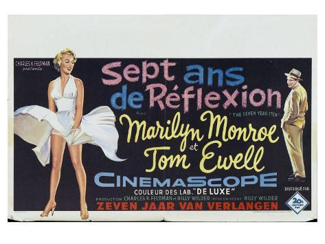 The Seven Year Itch, Belgian Movie Poster, 1955 Art Print