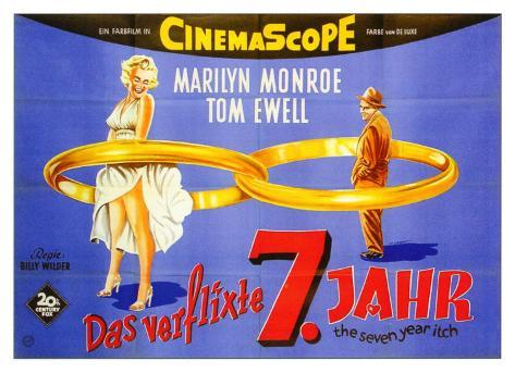 The Seven Year Itch, German Movie Poster, 1955 Art Print
