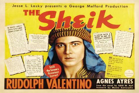The Sheik Movie Rudolph Valentino Agnes Ayres Adolphe Menjou Poster Print Poster