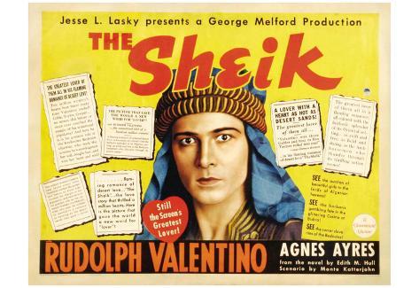 The Sheik Movie Rudolph Valentino Agnes Ayres Adolphe Menjou Poster Print ポスター