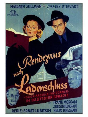 The Shop Around the Corner, German Movie Poster, 1940 Art Print