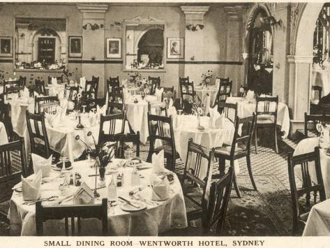 The Small Dining Room At The Hotel Wentworth, Sydney, New South Wales,  Australia