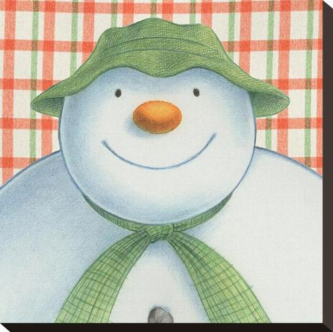 The Snowman and the Snowdog (Snowman Pattern) Stretched Canvas Print
