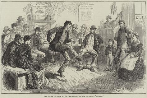 The Strike in South Wales, Amusements of the Colliers, Stepping Giclee Print