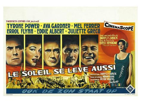The Sun Also Rises, Belgian Movie Poster, 1957 Art Print