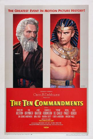 The Ten Commandments, Charlton Heston, Yul Brynner, 1956 Art Print