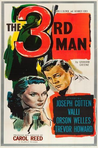 The Third Man, Alida Valli, Joseph Cotten on US poster art, 1949 Art Print